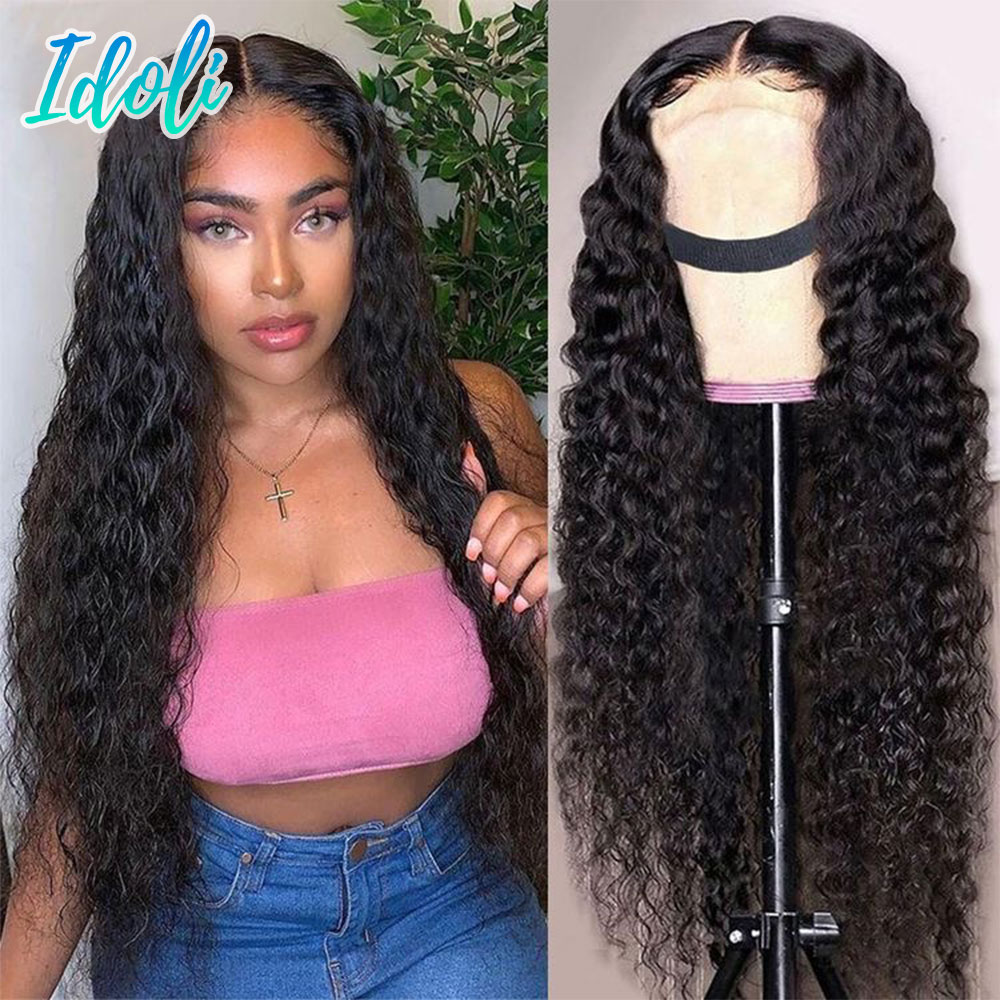 Water Wave Full Lace Front Wig 30inch HD Transparent 13x4 Lace Closure Wig Brazilian Human Hair Remy Wet And Wavy Water Wave Wig