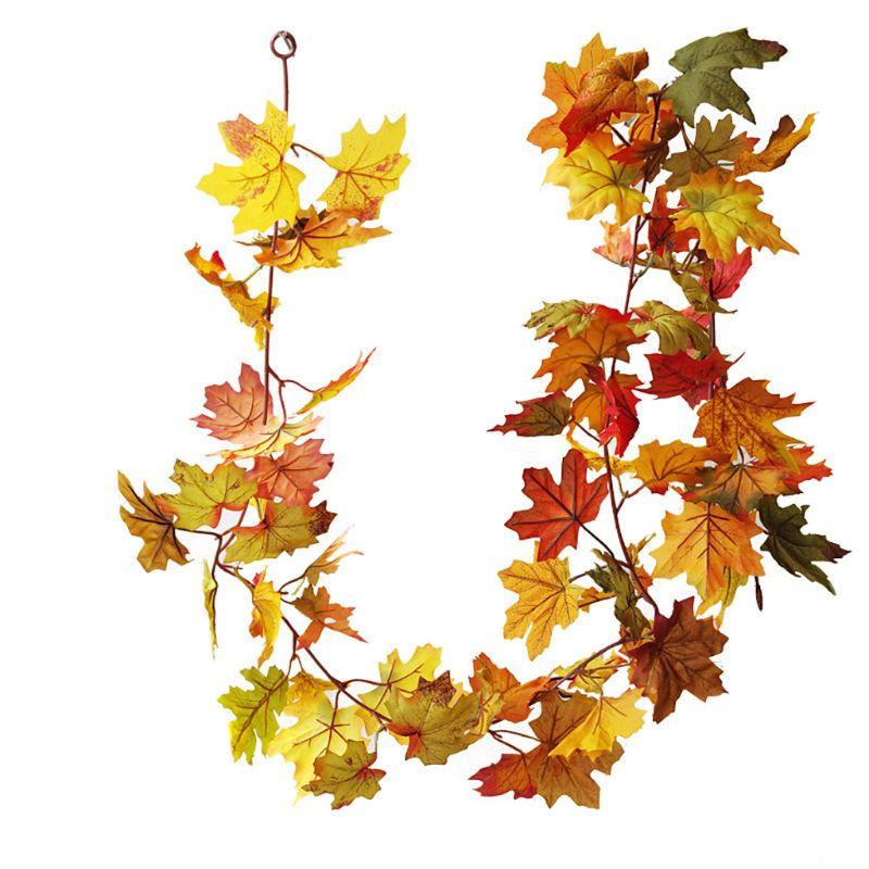 Guirnalda Artificial de Hojas de arce de otoño, guirnalda de calabaza de girasol, decoración colgante para el hogar X4YD