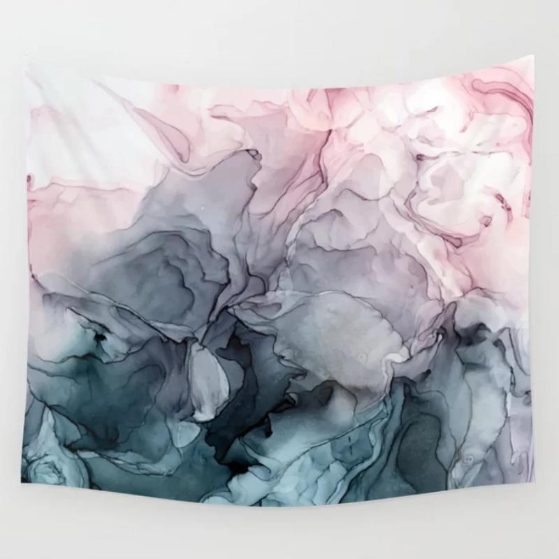 Blush y Payne es Grey flujo abstracto pintura de pared tapiz colcha pared manta artística toalla hoja tiro tapices
