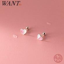 WANTME 925 Sterling Silver Fashion Enamel Love Heart Spiral Beads Small Stud Earrings for Women Girl