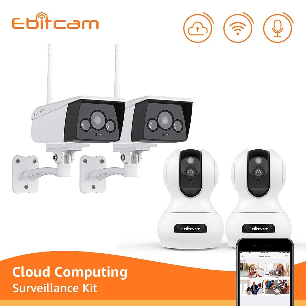 Ebitcam Cloud CCTV Camera Security System Kit Wifi IP Camera 1080p Wifi Outdoor IP Cameras 1080p Indoor Video Surveillance Kit