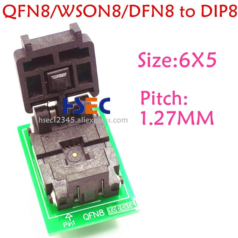Original QFN8 socket 6X5MM WSON8 DFN8 MLF8 to DIP8 adapter ic test chip 1.27MM pitch SPI FLASH QFN-8 programmer socket