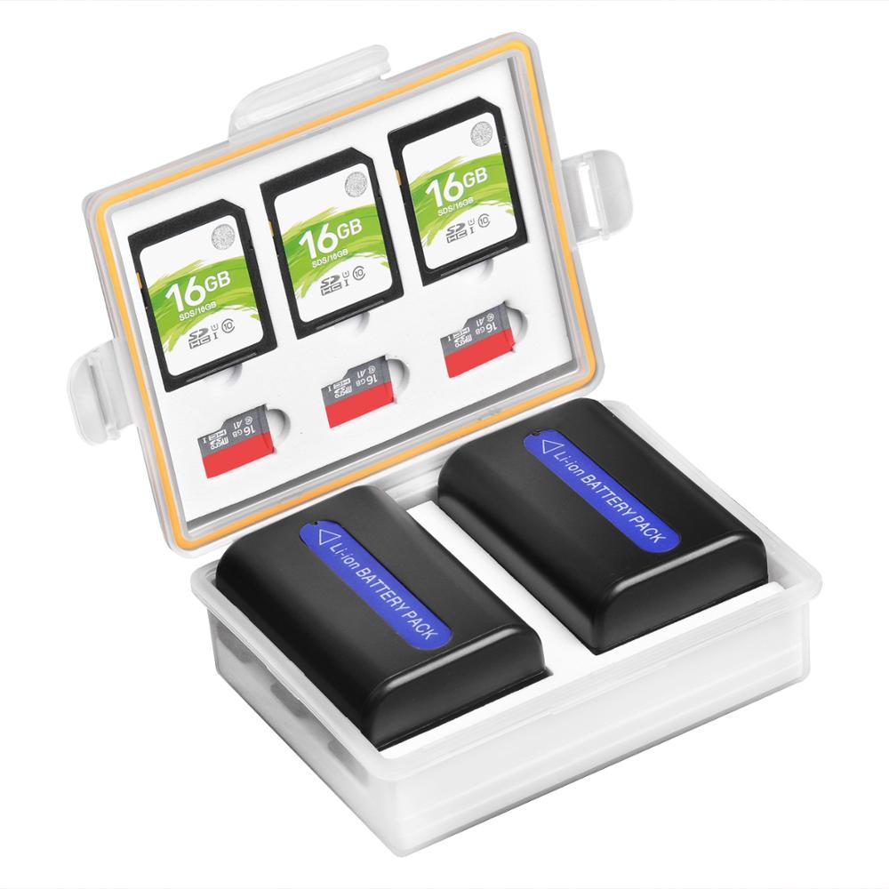 Batería de la Cámara de almacenamiento caja para LP-E6 LP-E8 LP-E10 LP-E12 LP-E17 EN-EL3E EN-EL14 EN-EL15 NP-FW50 NP-FZ100 BLF19 BLG10 batería