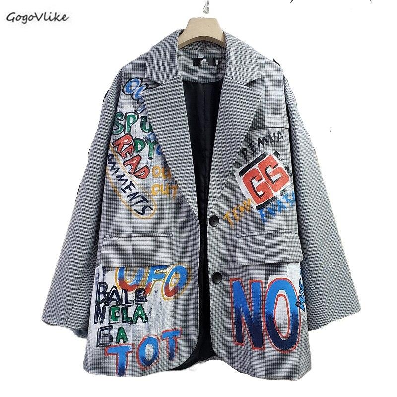 Chaqueta a cuadros estilo británico Blazer mujer Graffiti estampado prendas de vestir exteriores de talla grande chaqueta femenina elegante abrigos coreanos LT882S30
