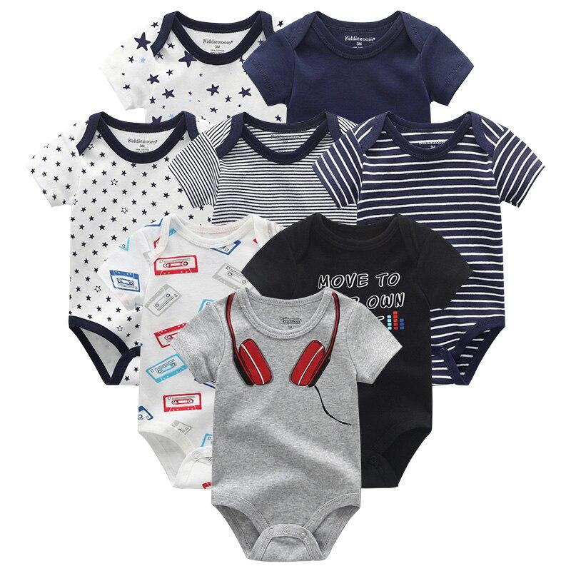 Ropa de bebé Unisex de algodón pequeño 2019 recién nacido niña monos 8 unids/lote de manga corta Niño traje bebé Onesie rupas de bebe