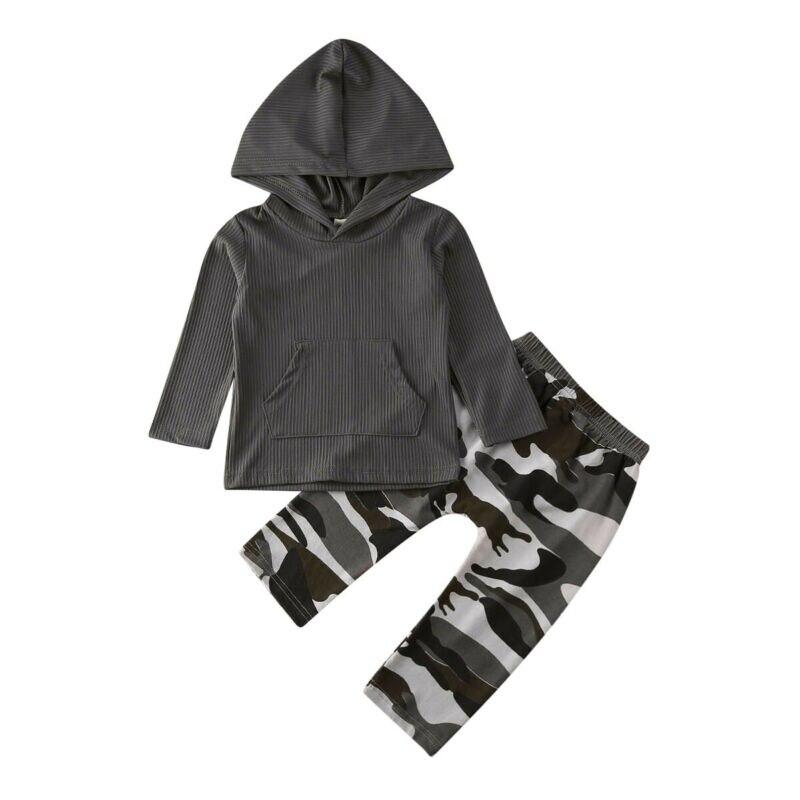 Envío gratis 2 uds. Otoño niños pequeños niños ropa de manga larga con capucha camisetas pantalones largos de camuflaje estampado conjuntos de conjuntos