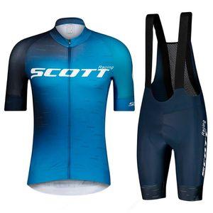 2021 Men Scott Racing Outdoor Quick-drying Mountain Bike  Short-sleeved Bicycle Top Shirt Cycling Jersey Suit