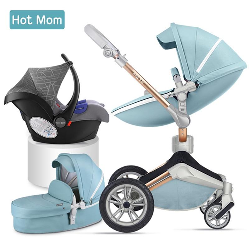 عربة أطفال 3 في 1 من Hot Mom لحديثي الولادة عربة أطفال فاخرة ذات مناظر طبيعية عالية عربة أطفال بإتجاهين خفيفة قابلة للطي من الجلد الصناعي الأوروب...