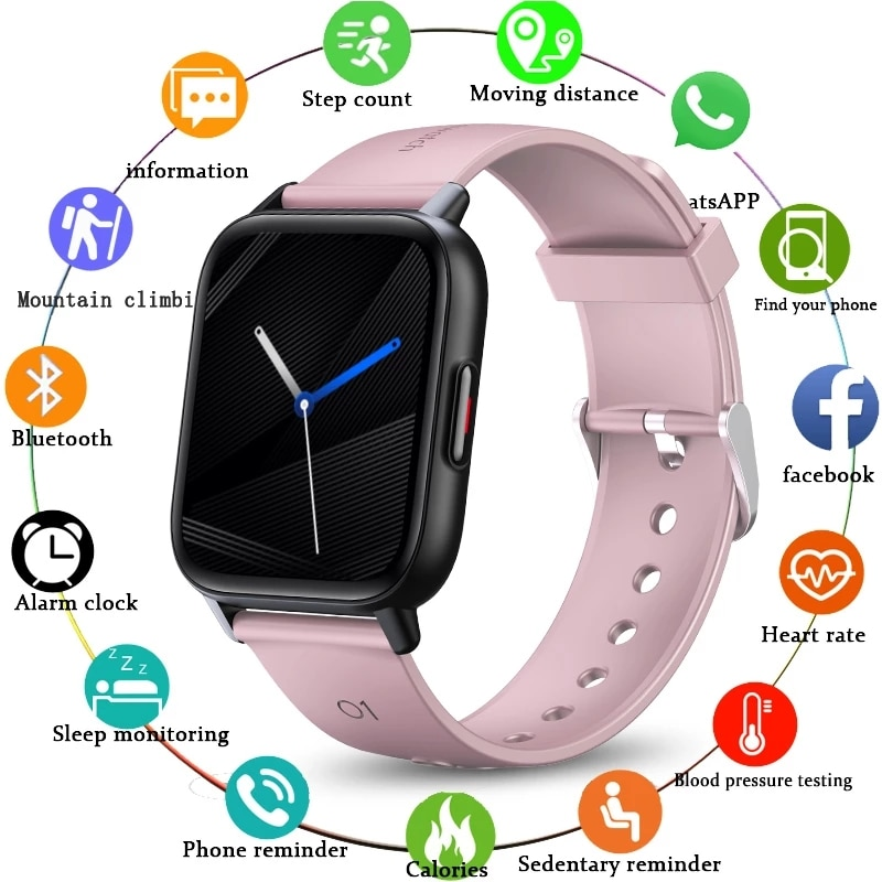 LIGE جديد درجة حرارة الجسم ساعة ذكية النساء 1.69 بوصة كامل اللمس اللياقة البدنية في الوقت الحقيقي النشاط المقتفي الرياضة السيدات Smartwatch الرجال