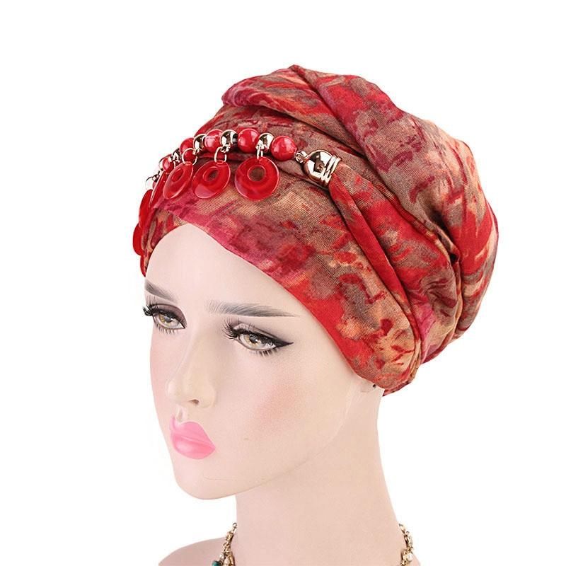 Женский модный шарф хиджаб шапка многостильная декоративная бижутерия ожерелье бисер кулон шарф тюрбан аксессуары для волос оптом