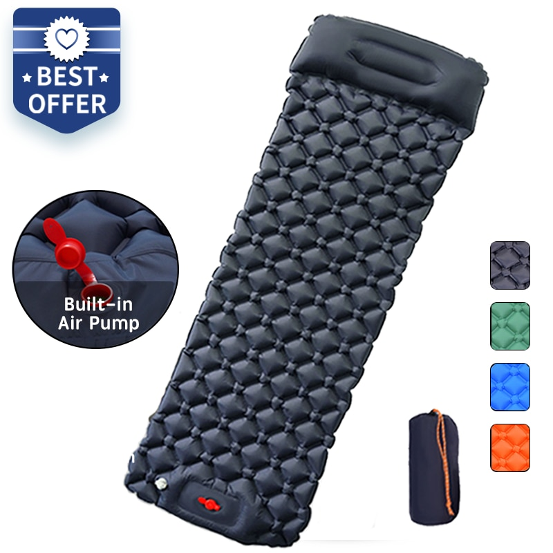 Outdoor Sleeping Pad Camping Inflatable Mattress with Pillows Travel Mat Folding Bed Ultralight Air Cushion Hiking Trekking
