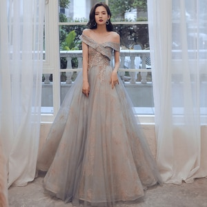 Stunning Off the Shoulder Evening Dress Soft Tulle with Gold Applique Prom Gowns Elegant Pleats