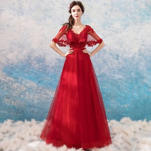 Evening Dress V-Neck Sexy Short Sleeves Evening Dresses Long Formal Gowns Flowers Regular Tulle Embroidery Evening Gowns TS051