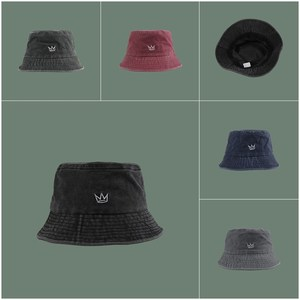 Embroidery washed vintage denim Bucket hat панамы cowboy fisherman hat men and women outdoor wild crown embroidery basin hat