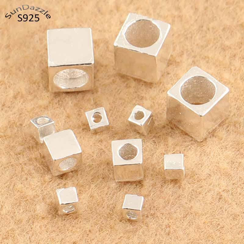 Genuíno real puro sólido 925 prata esterlina contas espaçador quadrado grânulos solto grânulo diy pulseira colar fazendo jóias por atacado