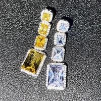 new luxury long earrings asymmetry square aaa cubic zirconia silver fine jewelry women wedding engagement are unusual eardrop