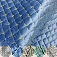 50x275cm velvet quilted fabric embroidery plaid non slip back thickening quilted fabric for diy cushion car interior sofa cover