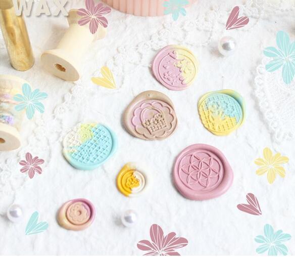 wood wax flower circle cake wax seal stamp for DIY Gift / Invitation album Decorative stamp marigold metal sealing stamp seal