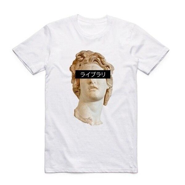 VIP-JBH impresión estatua de David Michelangelo hombres mujeres Vaporwave impresionante manga corta Camiseta cuello redondo Harajuku moda camiseta