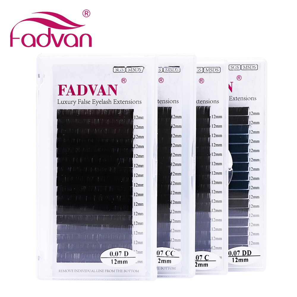 16rows Fadvan Faux Mink Eyelashes Individual Eyelashes Makeup Lashes Extension Lashes Box Case Supplies for Lash Building