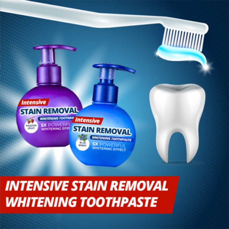 Novo removedor de manchas intensivo quente clareamento creme dental anti sangramento gengivas para escovar os dentes