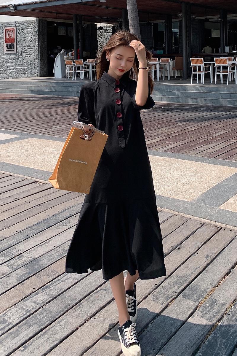 8066 Summer Black Chiffon Maternity Long Dress Elegant A Line Loose Clothes for Pregnant Women Button Open for Pregnancy Nursing