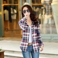 women blouses turn down collar spring shirts girls plaid all match loose outwear harajuku female korean brushed check hoodies