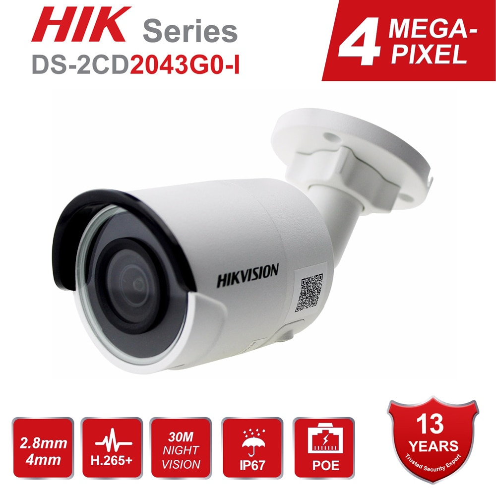 Hikvision 4MP رصاصة IP كاميرا PoE H.265 + DS-2CD2043G0-I 4 ميجابيكسل IR فيديو مراقبة مع بطاقة SD فتحة IP67 30m IR Onvif