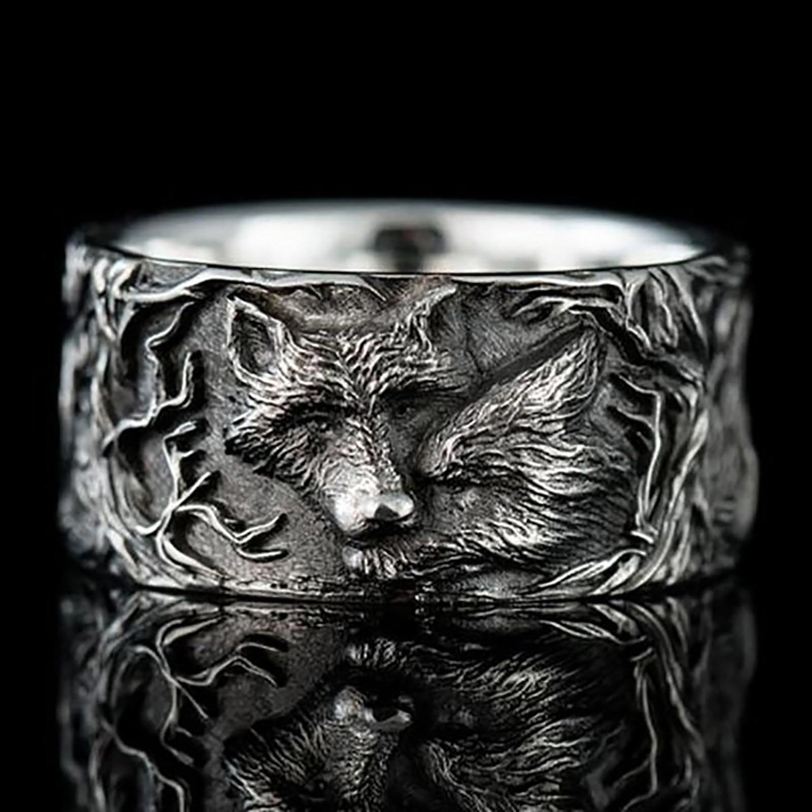 Mode rétro Stijl Wolf Patroon Legering Ringen Voor Mannen En Vrouwen Universele anneau à la main