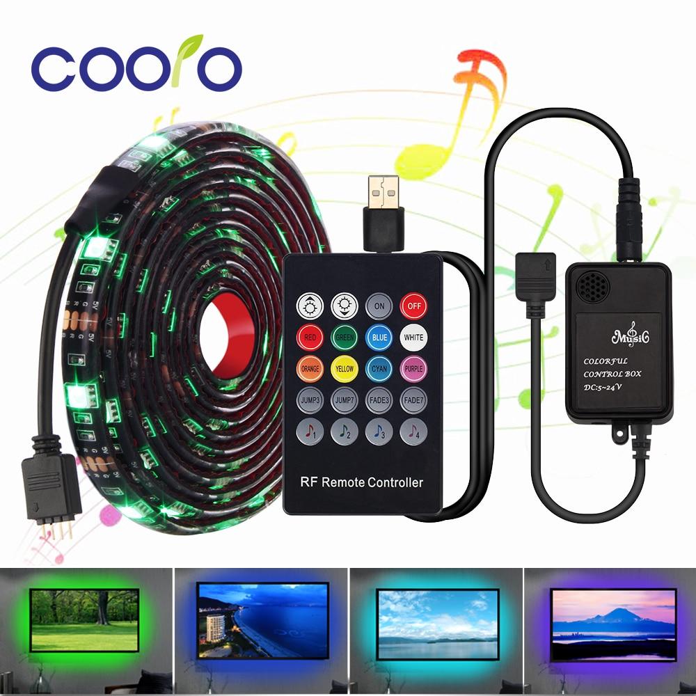 DC 5V Led Strip Waterproof 5050 SMD 30Led/m Led Lights Decoration for TV Backlight Led Tape 0.5M/1M/2M with Music Controller