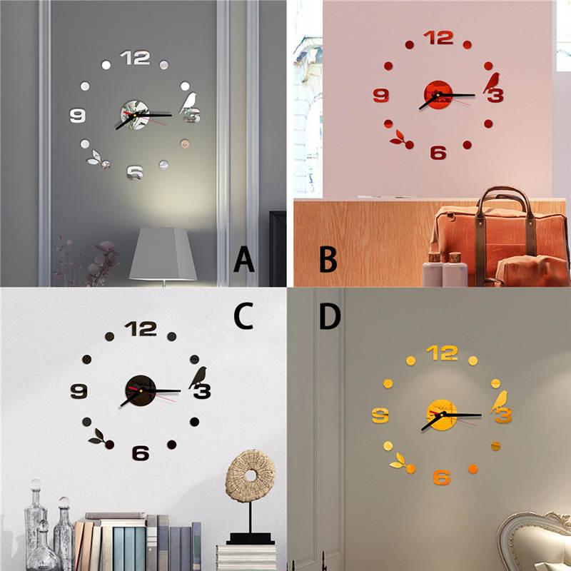 2019 reloj de pared relógio de parede 3d diy números romanos acrílico espelho adesivo parede relógio decoração da sua casa mural decalques decoração saat 661gz10