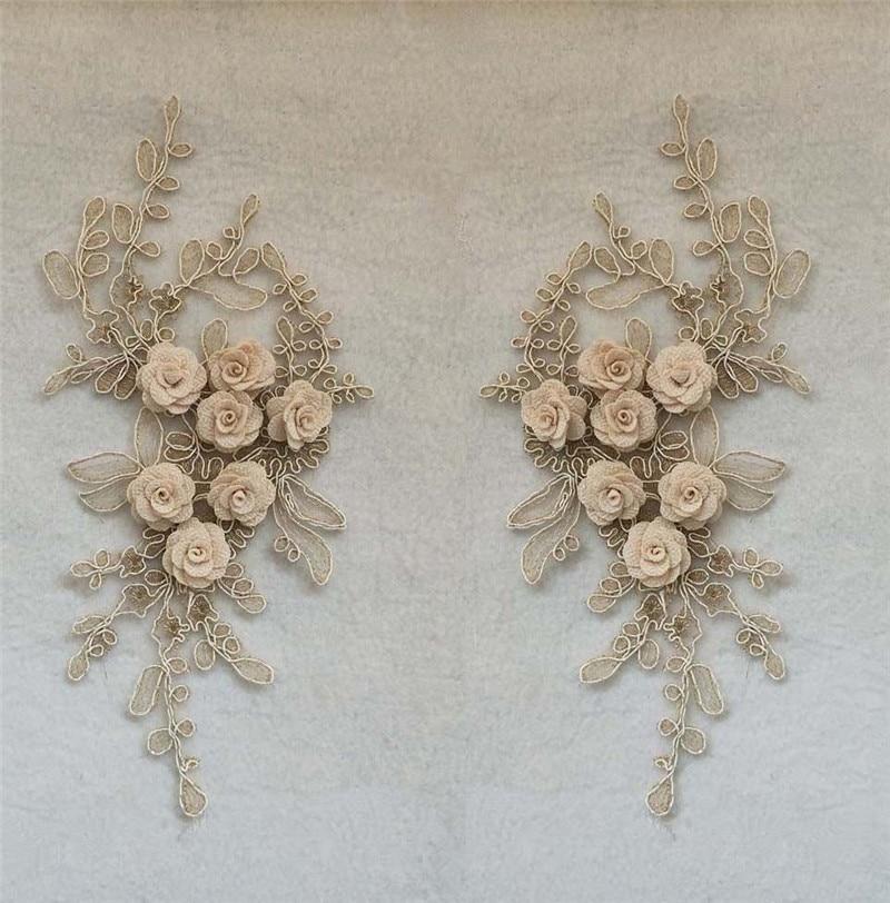 3D flor cordones cuello alta calidad encaje tela bordado artesanía materiales aplicación vestido costura accesorio un par de venta