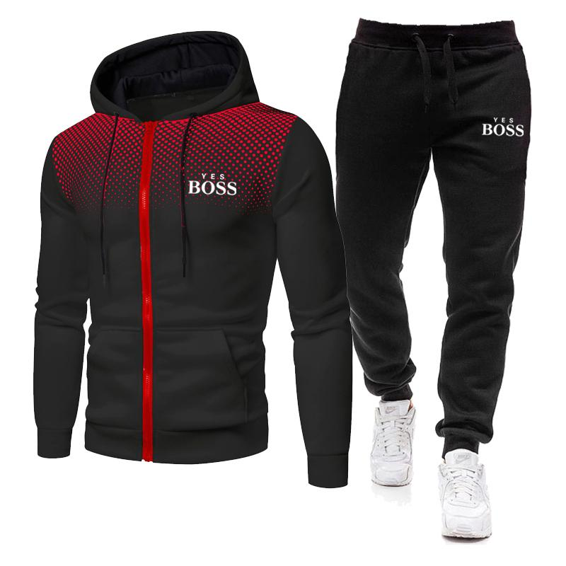 New Yes Boss Men's Autumn Winter Sets Zipper Hoodie+pants Two Pieces Casual Tracksuit Male Sportswea