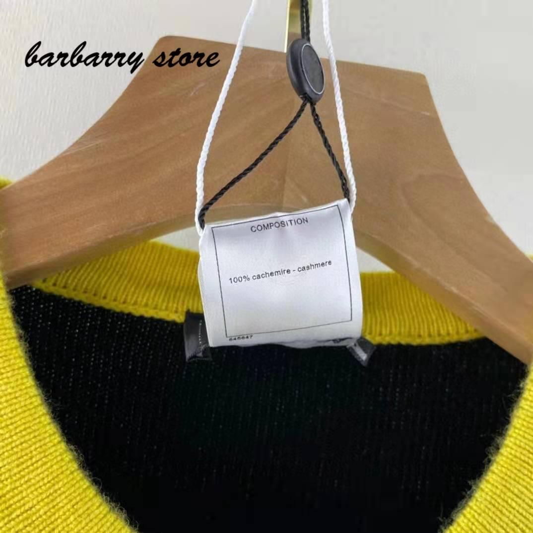 2021 luxury brand color blocking printing fashion women's top versatile round neck single breasted long sleeved wool cardigan enlarge