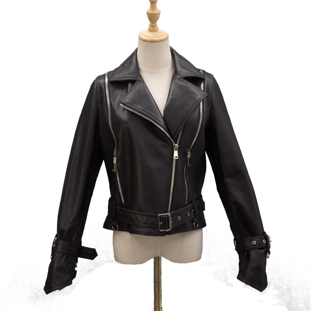 Chaqueta de motociclista para mujer, abrigo de piel con cinturón, Primavera, cremallera sólida, cuero de oveja, prendas de vestir