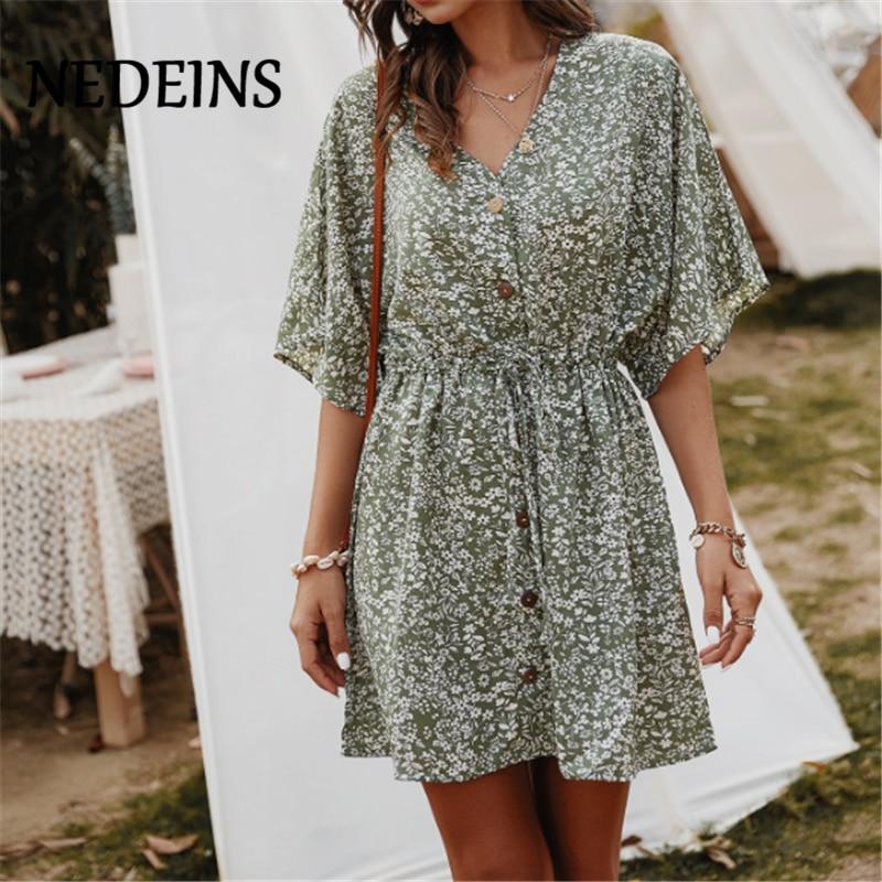 NEDEINS Women Print V-neck Sexy Mini Dress 2020 Summer Beach High Waist Mid Sleeve Dress Casual Boho Floral Dresses
