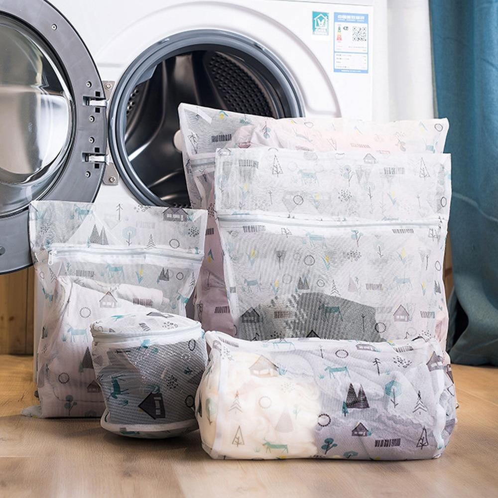 Bolsa de almacenamiento plegable para lavar lencería, cesta de red para lavar ropa del hogar, bolsa de malla con cremallera, bolsa organizadora
