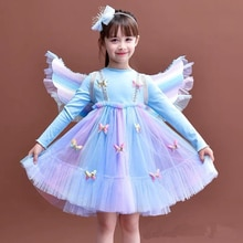 Girls Dresses Baby Children's Sweet Lace Dress Baby Kids Girl Fashion Rainbow Mesh Princess Clothes