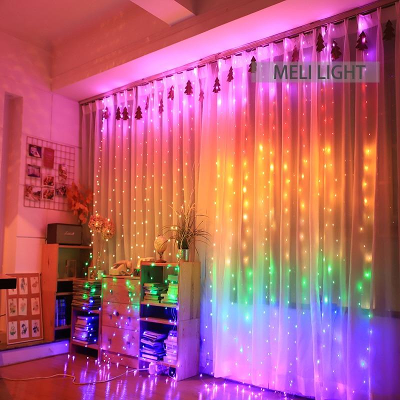 3X2.8M Rainbow Colorful LEDs Curtain String Light LED Christmas Garland Party Patio Window Decor Fairy Lights Xmas Wedding Light