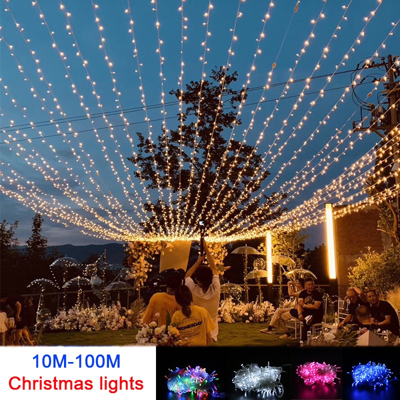 10M 100M Led String Garland Christmas Tree Fairy Light Chain Waterproof Home Garden wedding Party Outdoor Holiday Decoration