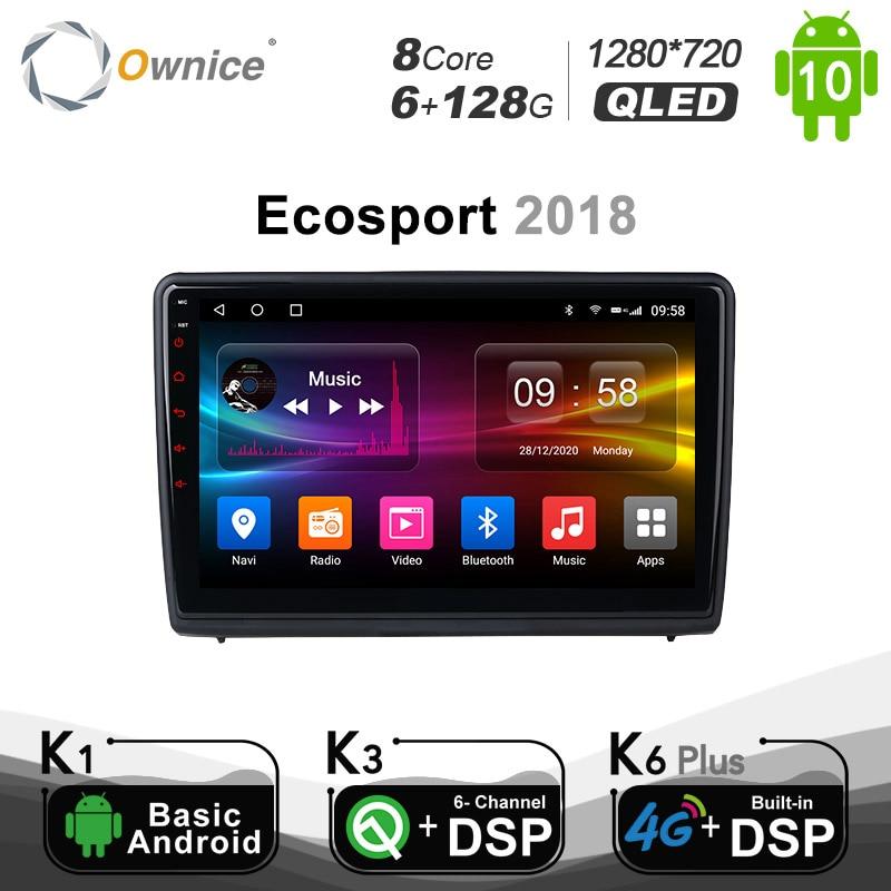 6 + 128G فوايس راديو السيارة لفورد Ecosport 2018 أندرويد 10.0 مشغل أسطوانات للسيارة راديو فيديو نافي 4G LTE DSP SPDIF 1280*720 BT 5.0