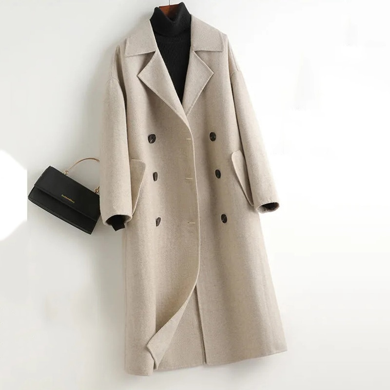 Abrigo de lana a rayas largo para Mujer, gabardina informal de calidad...