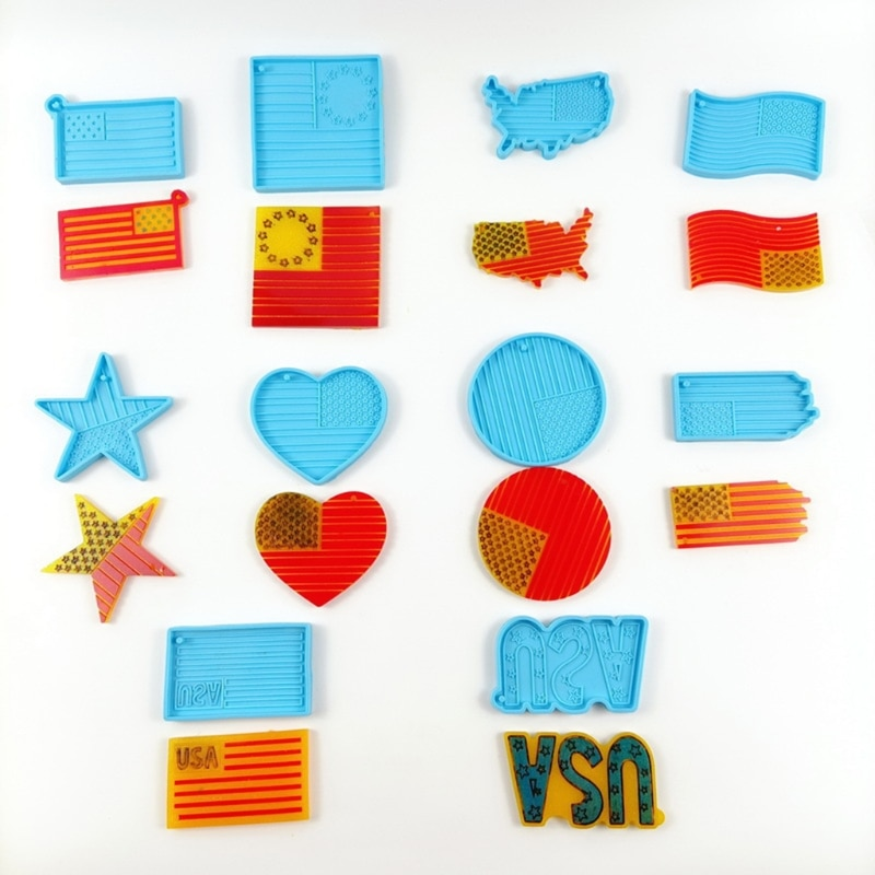 10 Style USA Flag Resin Molds American US Flag Keychain Pendant Mold Statue of Liberty Independence Silicone Resin Molds