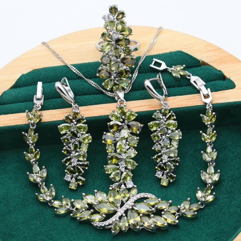 New Olive Green Purple Topaz 925 Silver Jewelry Set For Women Bracelet Earrings Necklace Pendant Ring Birthday Gift 4PCS