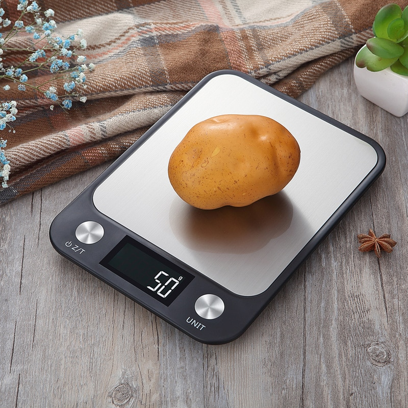 10kg/1g Multi-function Digital Food Kitchen Scale Stainless Steel LCD Display Weighing Food Scale Cooking Kitchen Tools Balance