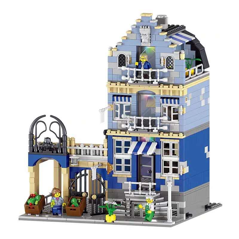 Dropshipping 84007 Mercado Europeo MOC City Street View Compatible Lepining 15007 Juguetes de bloques de construcción para niños regalos de navidad