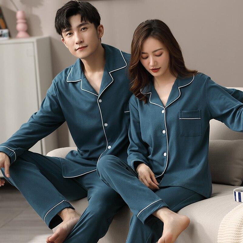 Зима хлопок пара пижамы для влюбленных полные рукава одежда для сна мужчины пижама домашняя одежда пижама подходящая пижама белый пара пижамы женщины