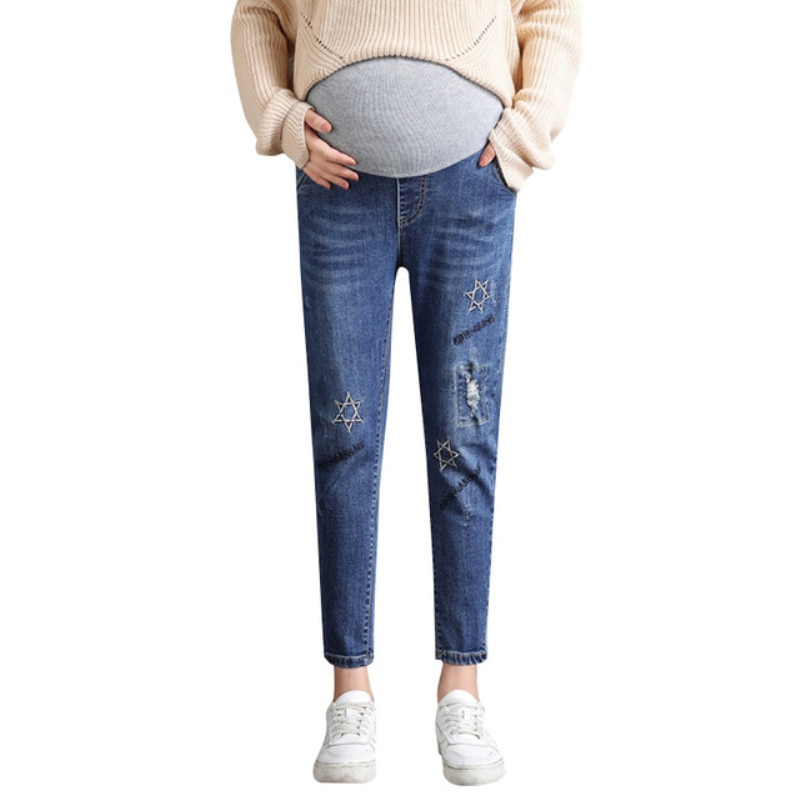 Maternity clothes jeans 2019 woman autumn newst Korean embroidery stomach lift cropped pants pregnancy casual stretch pants
