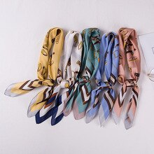 Design Silk Scarf Women Fashion Chain Symmetrical Pattern Shawl Wrap Work Neck Scarves Female Luxury