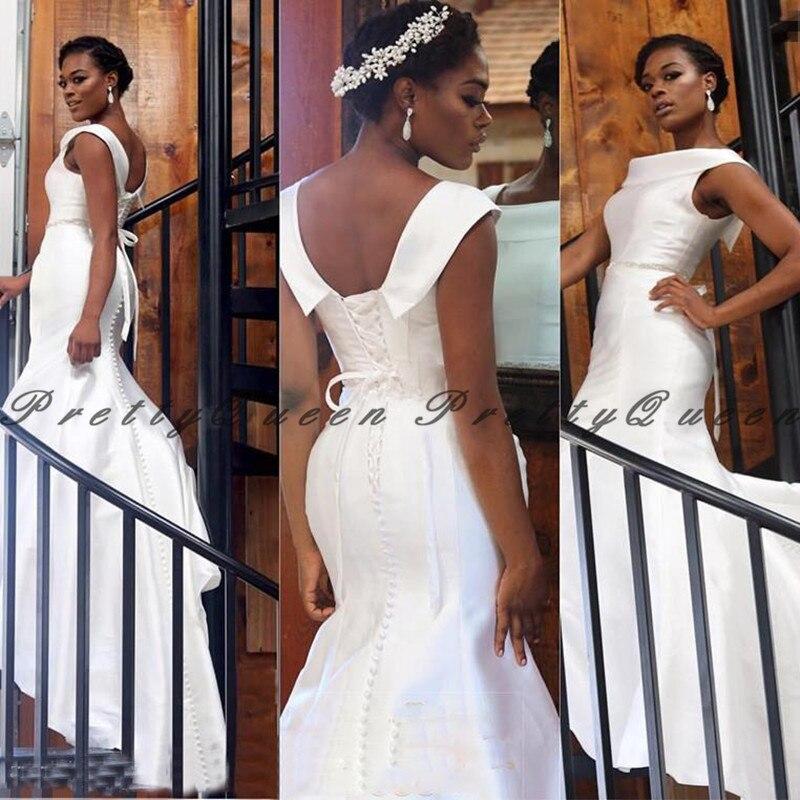 Vestido De Novia largo De satén blanco Vintage 2020, corsé De sirena con espalda africana, Vestidos De Novia para mujer, Vestidos De Novia